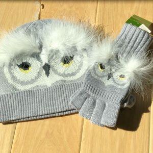 Kate Spade Set Owl Knit Who Me Beanie & Mittens